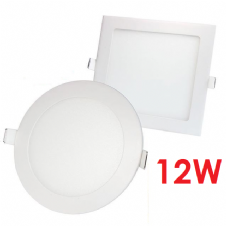 12W RECESSED LED PANELS ROUND AND SQUARE